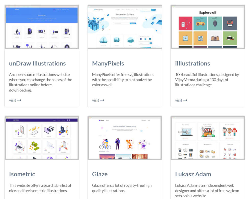 A Curated List Of Websites For Free SVG Illustrations